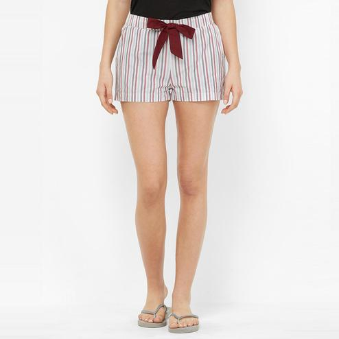 Mystere Paris - Multi Colored Classic Striped Cotton Lounge Shorts