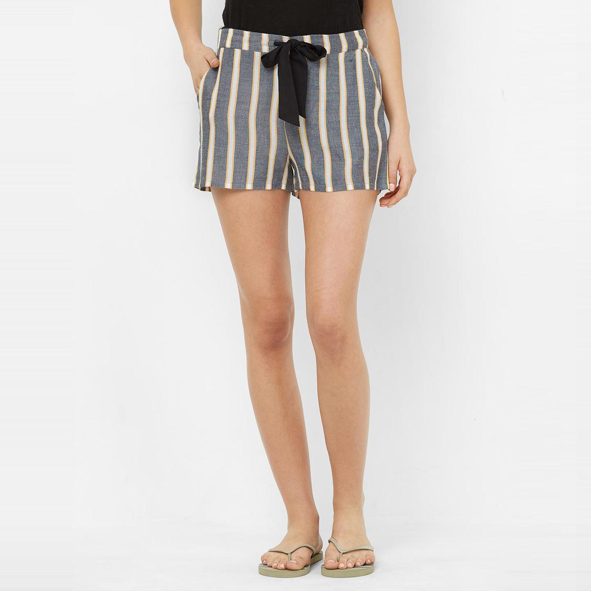 Mystere Paris - Charcoal  White Colored Classic Striped Rayon Lounge Shorts