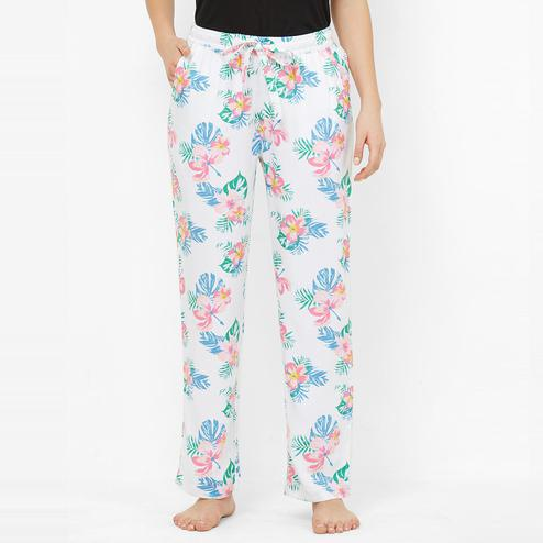Mystere Paris - White Multi Colored Tropical Floral Print Rayon Pyjamas