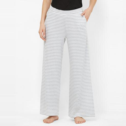 Mystere Paris - Grey White Colored Trendy Striped Cotton Palazzo