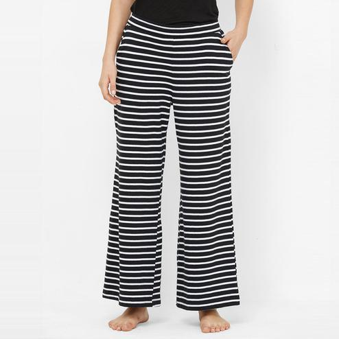 Mystere Paris - Black White Colored Trendy Striped Cotton Palazzo