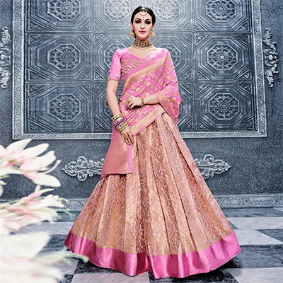 Pink Pure Banarasi Silk Traditional Lehenga