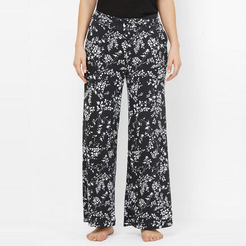 Mystere Paris - Black White Colored Batik Floral Print Cotton Palazzo