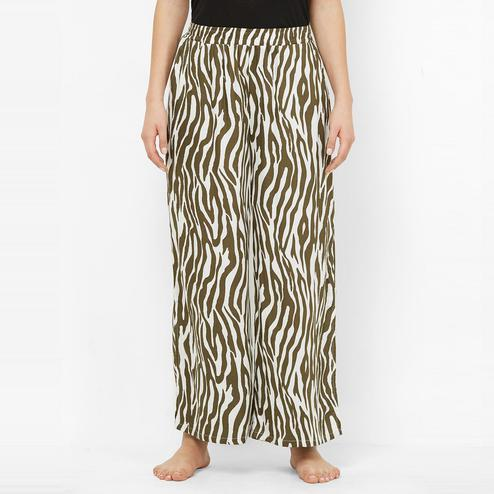 Mystere Paris - Olive Colored Funky Zebra Print Rayon Pyjamas