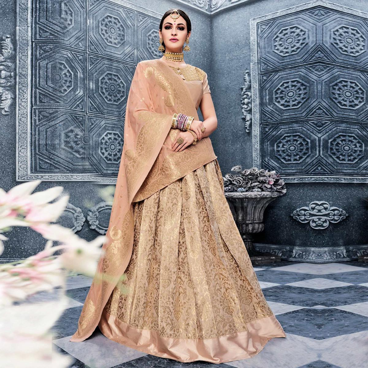 Beige Embroidered Wedding Wear Lehenga