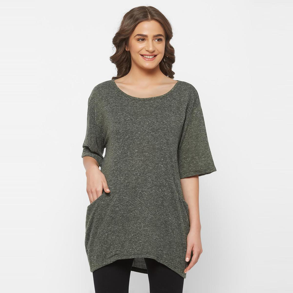Mystere Paris - Olive Colored Casual Cotton Boxy Tshirt