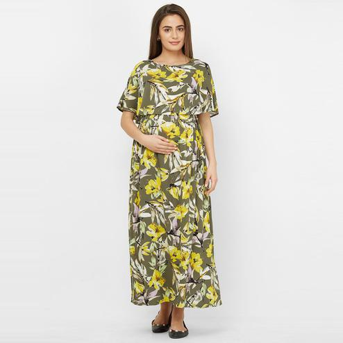 Mystere Paris - Olive Yellow Colored Floral Rayon Maternity Maxi Dress