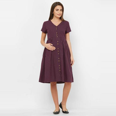 Mystere Paris - Maroon Colored Classic Checked Cotton Maternity Dress