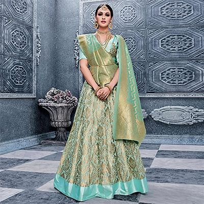 Light Blue Festive Wear Pure Banarasi Silk Lehenga