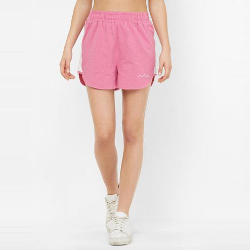 Mystere Paris - Pink Colored Chic Textured Cotton Sports Shorts