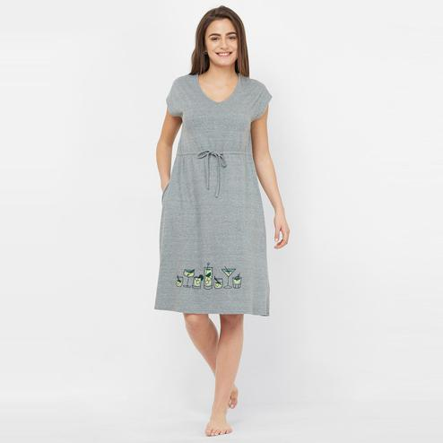 Mystere Paris - Grey Colored Cocktail Embroidered Cotton Sleep Dress