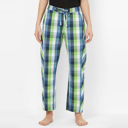 Mystere Paris - Blue Green Colored Classic Checked Cotton Pyjamas