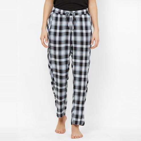 Mystere Paris - Blue Black Colored Classic Checked Cotton Pyjamas