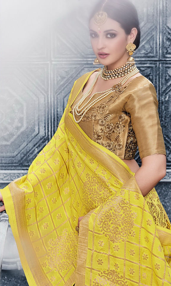 Yellow Embroidered Box Pleeting Lehenga Choli