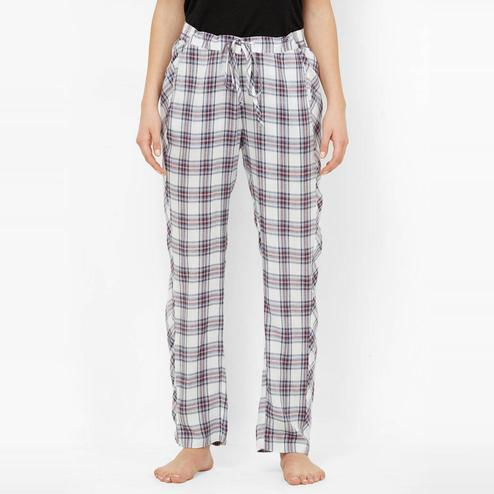 Mystere Paris - White Grey Colored Classic Checked Cotton Pyjamas