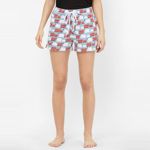 Mystere Paris - Blue Red Colored Cute Bus Print Cotton Shorts