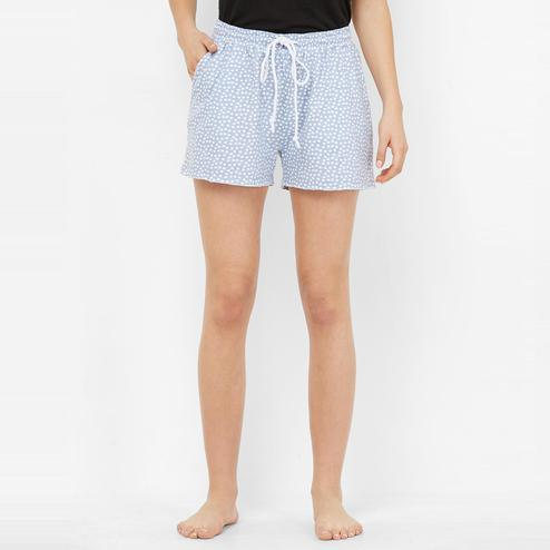 Mystere Paris - Blue White Colored Classic Polka Dot Cotton Shorts