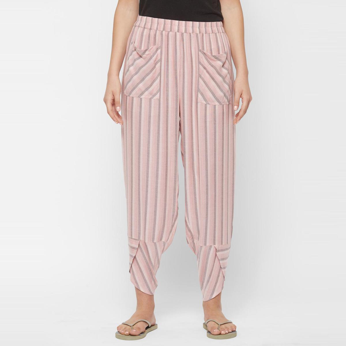 Mystere Paris - Pink Grey Colored Classic Striped Rayon Lounge Pant