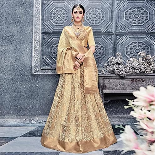 Golden Embroidered Designer Lehenga
