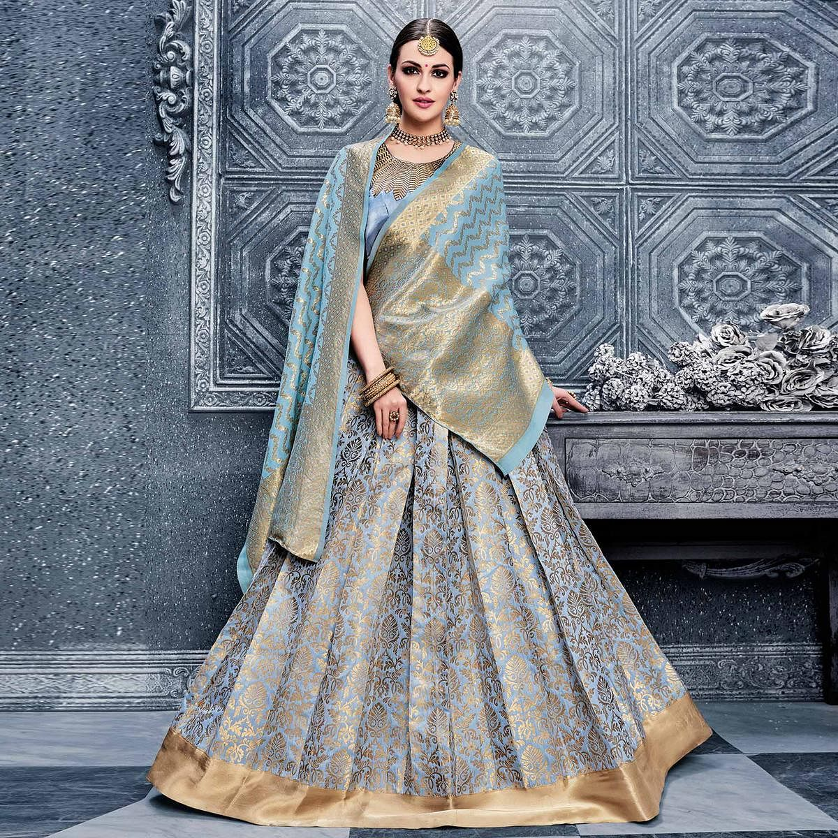 Grey Box Pleeting Designer Lehenga