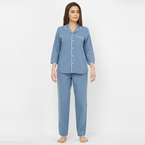 Mystere Paris - Blue Colored Large Checks Cotton Pyjama Set