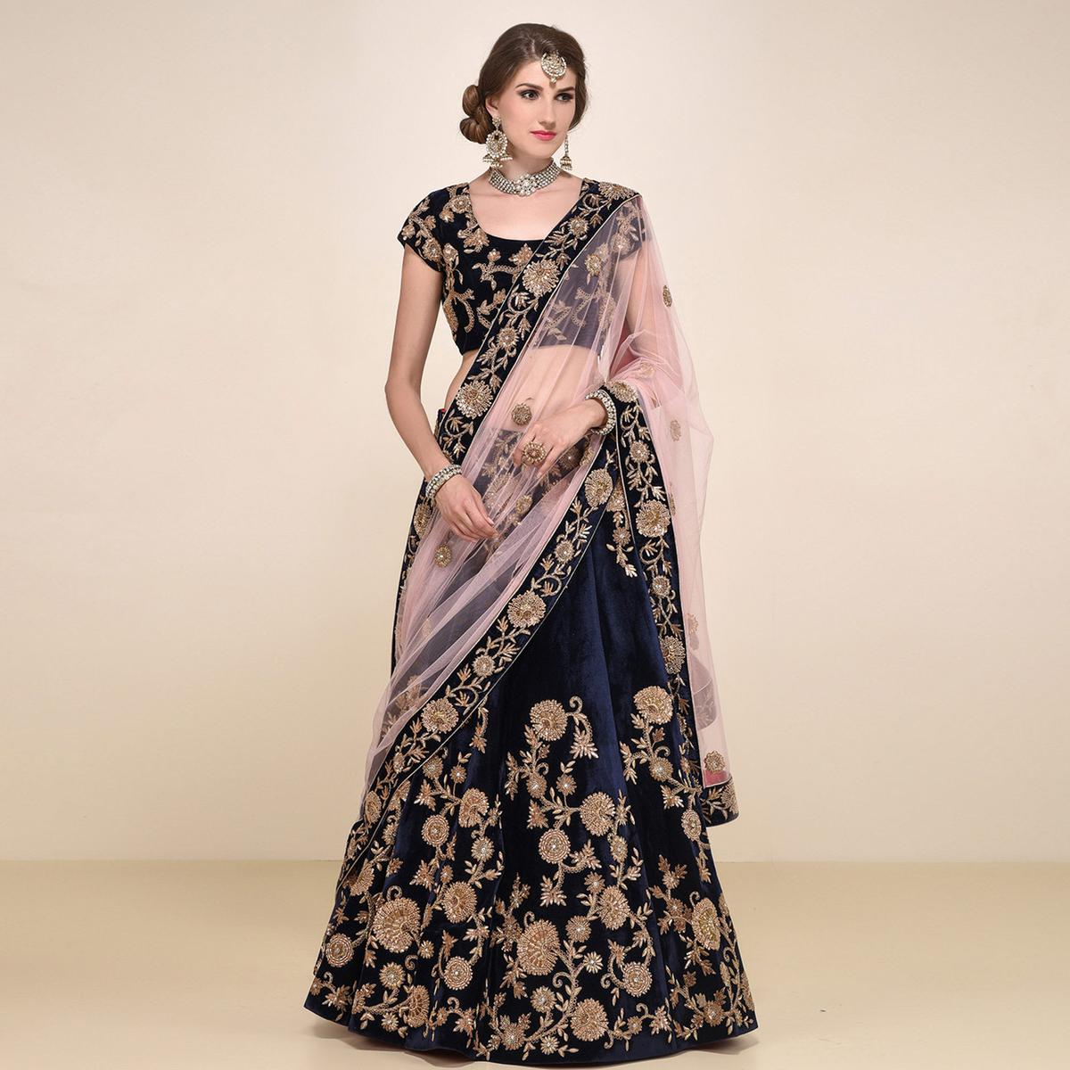 Navy Blue Velvet Wedding Wear Embroidered Lehenga