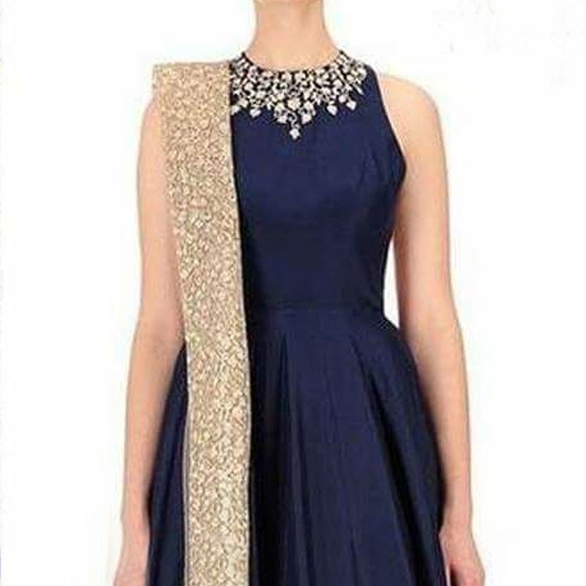 Navy Blue Designer Gown with Net Dupatta