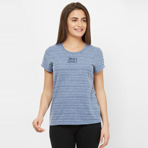 Mystere Paris - Grey Blue Colored Stylish Embroidered Cotton Lounge Tee