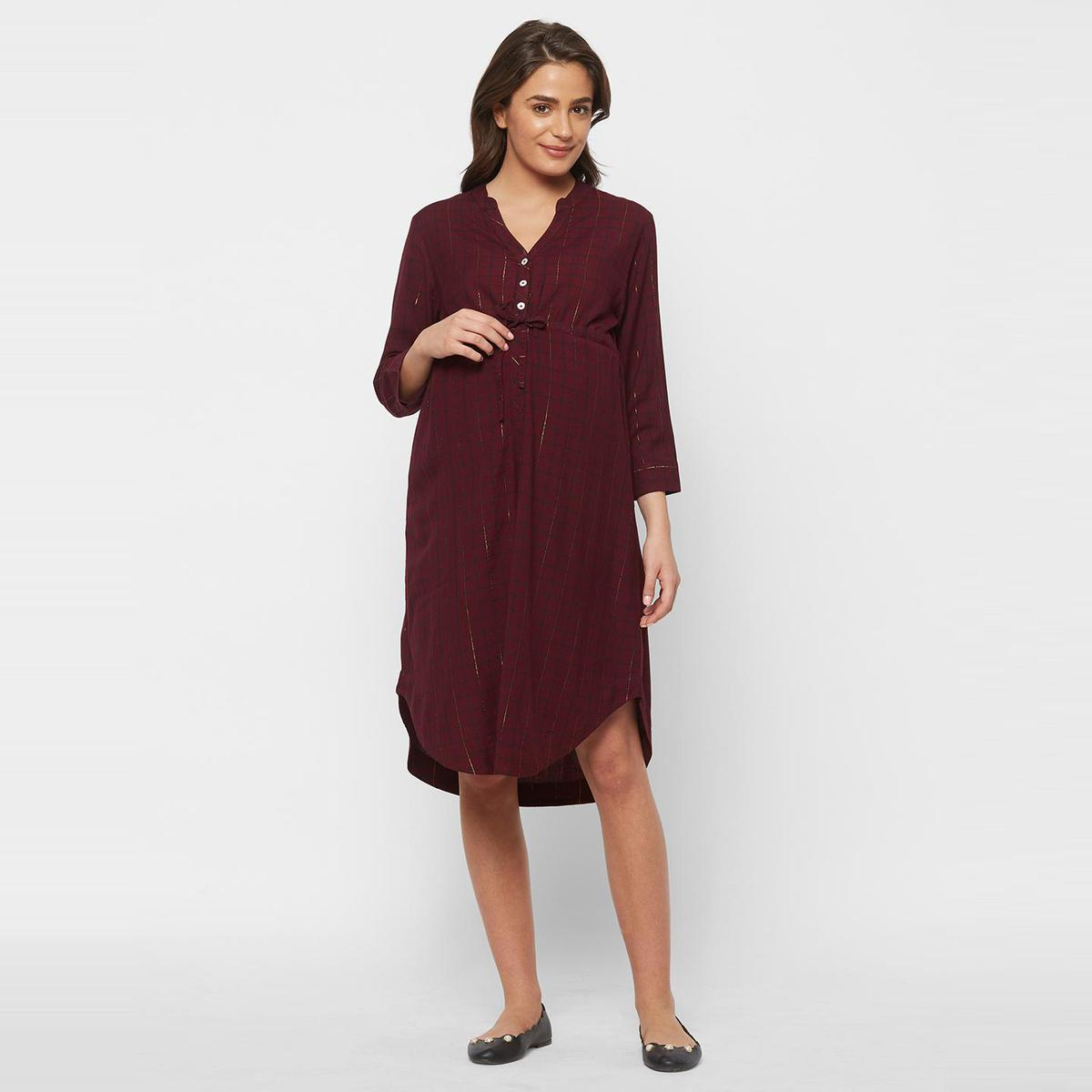Mystere Paris - Maroon Gold Colored Classy Checked Rayon Maternity Dress