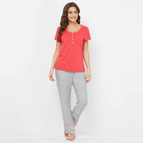 Mystere Paris - Pink White Colored Comfy Cotton-Rayon Top & Pyjama Set
