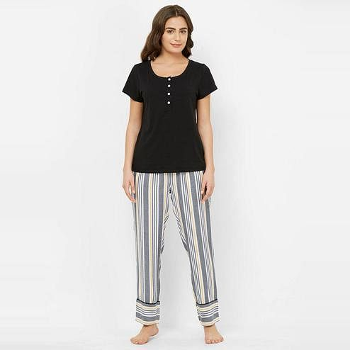Mystere Paris - Black Yellow Colored Comfy Cotton-Rayon Top & Pyjama Set