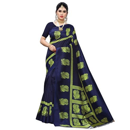 Desirable Navy Blue Colored Festive Wear Printed Art Silk Saree
