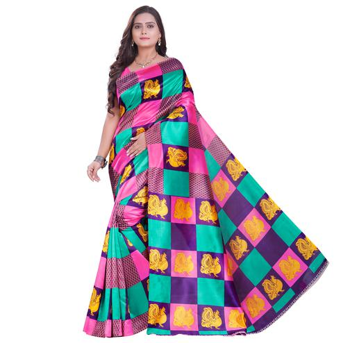 Elegant Multi Colored Festive Wear Printed Art Silk Saree