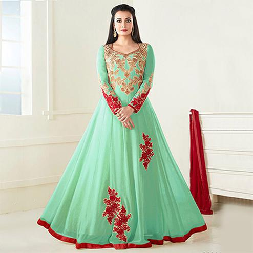 Pastel Green Georgette Embroidered Anarkali