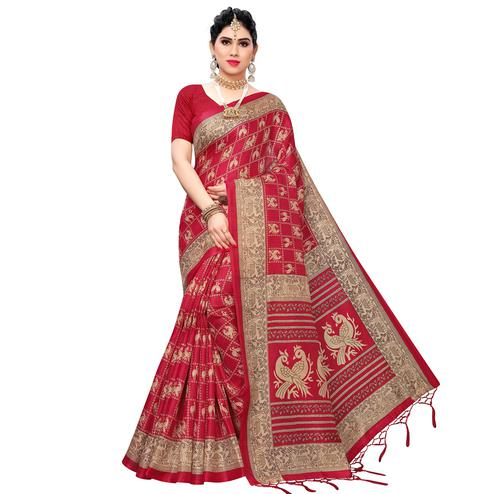 Pleasant Red Colored Festive Wear Printed Art Silk Saree With Tassels