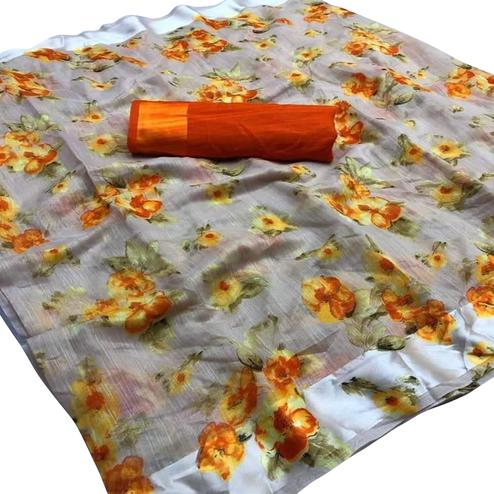 Glorious Grey Colored Casual Wear Floral Printed Cotton-Linen Saree