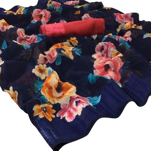 Attractive Blue Colored Casual Wear Floral Printed Cotton-Linen Saree