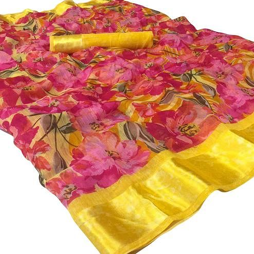 Engrossing Pink Colored Casual Wear Floral Printed Cotton-Linen Saree