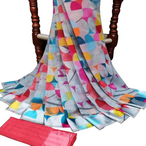 Arresting Blue Colored Casual Wear Geometric Printed Cotton-Linen Saree