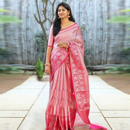 Exclusive Pink Colored Festive Wear Woven Art Silk Saree