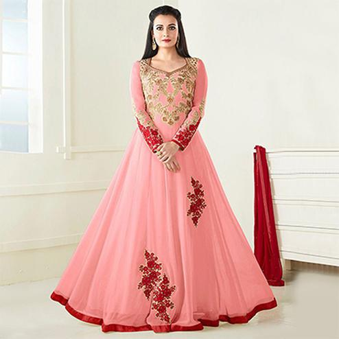 Pink Partywear Embroidered Anarkali
