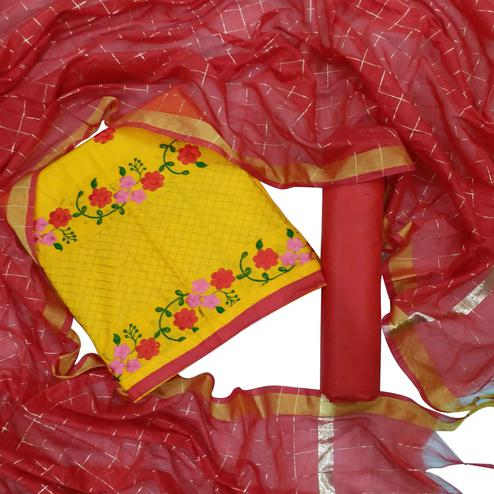 Jazzy Yellow Colored Partywear Floral Embroidered Cotton Dress Material