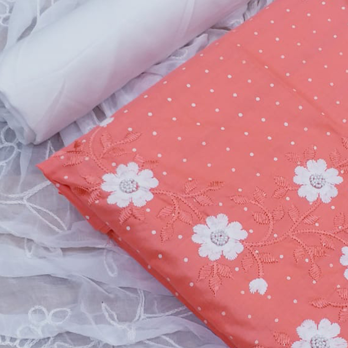 Innovative Peach Colored Partywear Floral Embroidered Cotton Dress Material