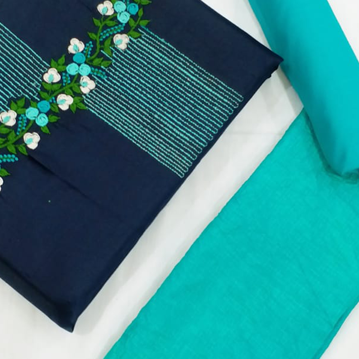 Amazing Navy Blue-Turquoise Colored Partywear Floral Embroidered Cotton Dress Material