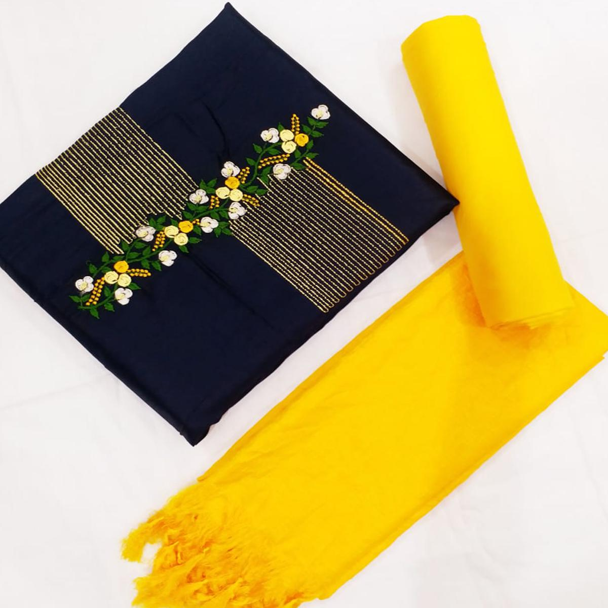 Gorgeous Navy Blue-Yellow Colored Partywear Floral Embroidered Cotton Dress Material