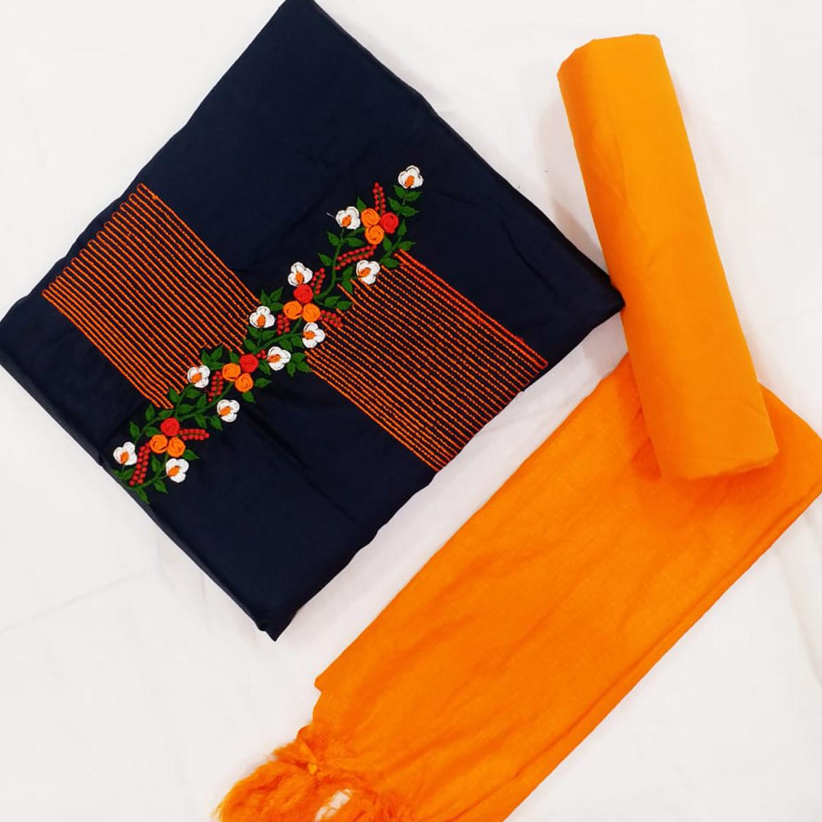 Blissful Navy Blue-Orange Colored Partywear Floral Embroidered Cotton Dress Material