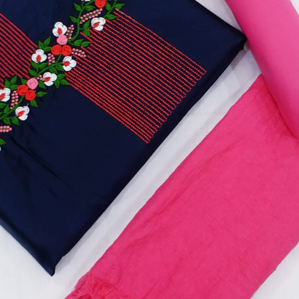 Ideal Navy Blue-Pink Colored Partywear Floral Embroidered Cotton Dress Material