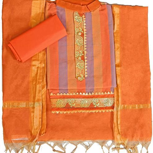 Imposing Orange Colored Festive Wear Woven Cambric Cotton Dress Material