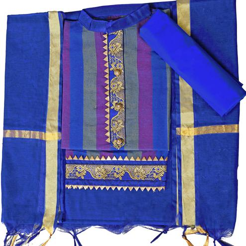 Lovely Blue Colored Festive Wear Woven Cambric Cotton Dress Material
