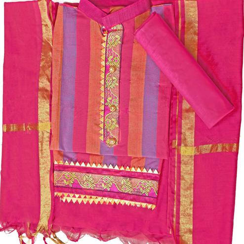 Impressive Pink Colored Festive Wear Woven Cambric Cotton Dress Material